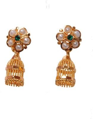 PFJ PFJ3031-EARRING Cubic Zirconia, Pearl Brass, Copper Jhumki Earring