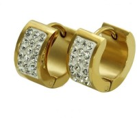 Vaishnavi First High Quality 24kt Gold Coated With Beautiful Shining Three Stripes Micro Crystal Stones Unisex made of 316L Stainless Steel Hoop Earri