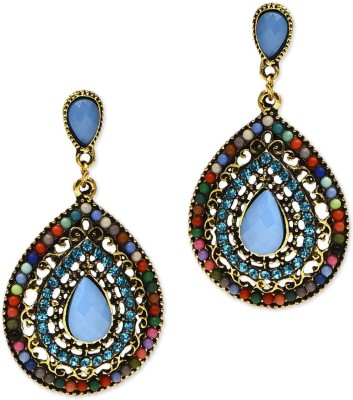 Golden Peacock Gold Plated Danging Cubic Zirconia Alloy Drop Earring