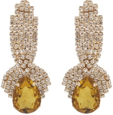 RIANZ New Elegant Gold Plated Yellow Color Stone and Crystals Gold Dangle Earring