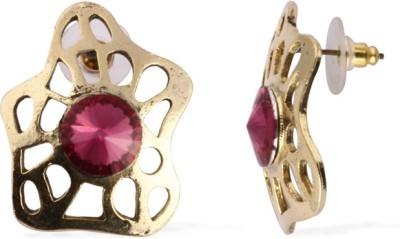 The Fine World Golden Cutwork Studs With Emerald Dark Pink Stones Zircon Metal Stud Earring