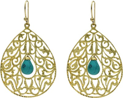 Eighth Fold Blue Tear Turquoise Brass Drop Earring