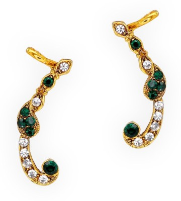 Jaipur Mart Green Crystal Small Alloy Cuff Earring