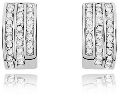 Silver Shoppee Circles Of Love Cubic Zirconia Metal Stud Earring