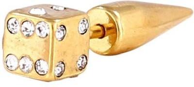 Little Goa Golden Studded Dice Ear Taper Body Piercing-25 mm Metal Stud Earring