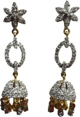 Paridhi Jewels Long Diamond Earrings Cubic Zirconia Alloy Dangle Earring