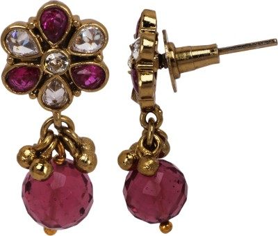 Maisha Pink Crystal with Flower Alloy Drop Earring