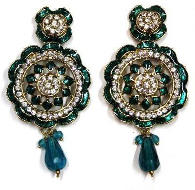 Fusion Jewels ER-348 Green Metal Drop Earring