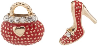 RIANZ New Highly Gold Plated Red Bag Heel Alloy, Crystal Stud Earring