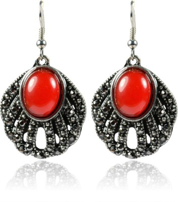 Colors of Sin Oval marcasite bottom peacock feather red Metal Dangle Earring, Drop Earring