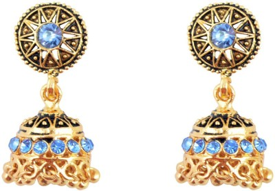 Diovanni Turquoise Duet In Blue Pret Metal Jhumki Earring