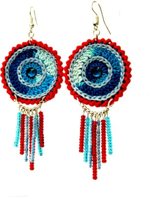 Saaheli Round - Blue and red Fabric Dangle Earring