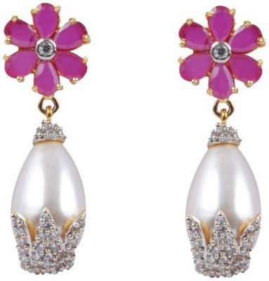 Aadhya Jewels Designer Pearl American Diamond Ruby Flower Metal, Alloy Drop Earring