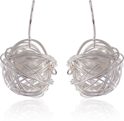Thingalicious Trendy Webbed Wire Mesh Pearl Alloy Dangle Earring