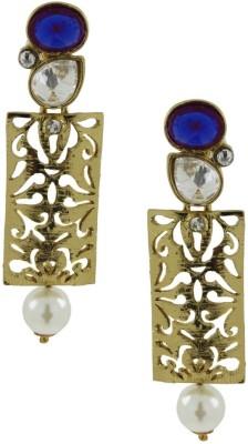 the jewelbox Designer Filigree Cubic Zirconia Brass Drop Earring