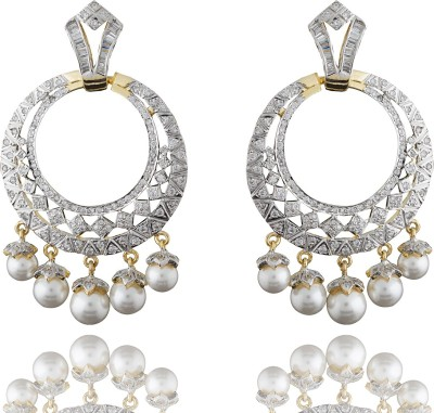 Chaahat Fashion Jewellery Stones With Pearl Cubic Zirconia Copper Chandbali Earring