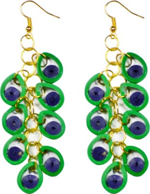 Trendmania Blue and green hangings paper quilled earrings Paper Dangle Earring