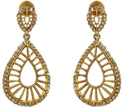 ACW Gold Plated White Stones Hanging Earrings Metal Chandelier Earring