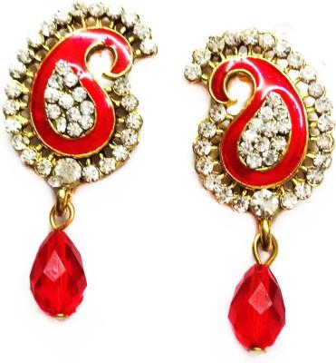 SB Fashions small red pearl Brass Drop Earring