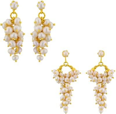 JPearls Set OF 2 Pearl Alloy Drop Earring