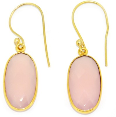 Casa De Plata Oval Pink Rose Chalcedony Brass Earring Chalcedony Brass Dangle Earring