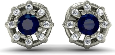 R S Jewels Creative Designs White Gold 18kt Diamond, Sapphire Stud Earring