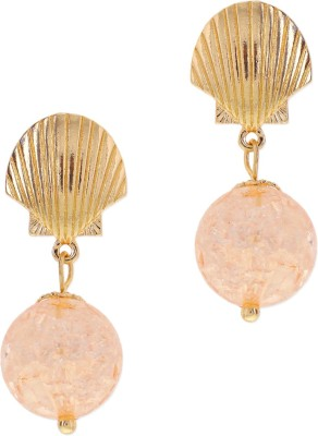 Oomph Gold & Pink Peach Crystal Shell Fashion Jewellery for Women, Girls & Ladies Metal Drop Earring