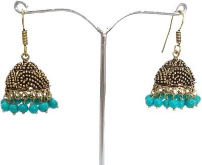 modifier Blue Charming Beads Alloy Jhumki Earring
