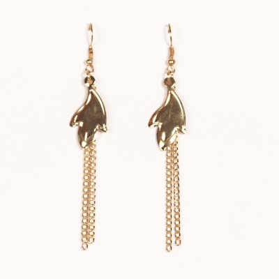 Urthn Gold Long Beaded - 1301619 Alloy Dangle Earring