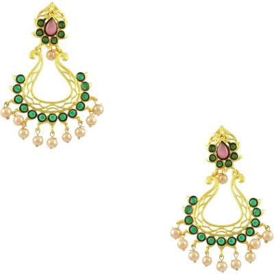 Orniza Rajwadi Earrings in Pink Color and Matt Gold Polish Brass Dangle Earring