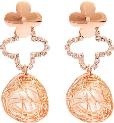 Super Drool Flower And Crystals Alloy Drop Earring