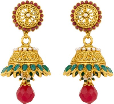 Rajwada Arts Green and Red Stones Brass Jhumki Earring