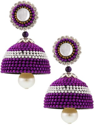 Jaipur Raga Purple Design Hancrafted Ball Chain Jhumka Brass Jhumki Earring