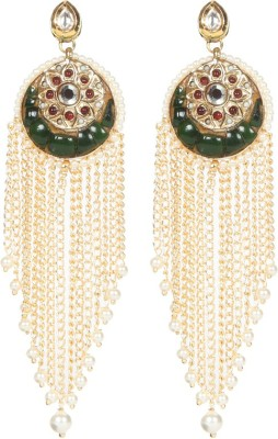 Envy Stone Chips With Pearl, Kundan Brass Tassel Earring