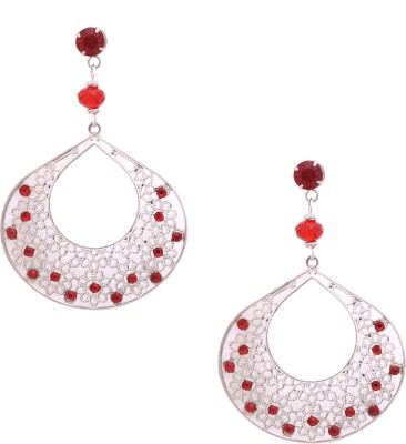 Sankisho Big Red Drop Metal, Alloy, Glass Drop Earring