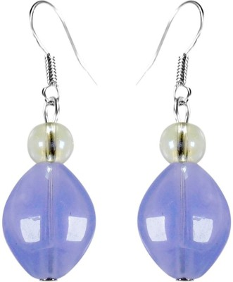 Crystals & Beads Amethyst Purple Colour Oval Bead & White Crystal Acrylic, Glass, Crystal Dangle Earring