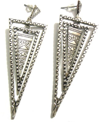 Bohocraft Bohemian Egyptian Triple Triangles Silver Tone Long Metal Drop Earring