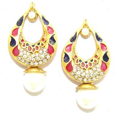 Aarnaa Blue Rani Enamel Alloy Drop Earring