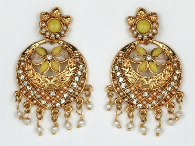 ACW Yellow and White Stones Chand Bali with Pearl Metal Chandbali Earring