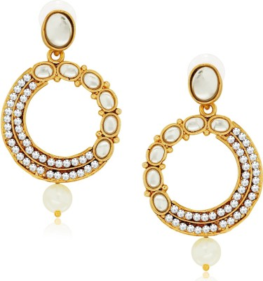 Spargz Designer Round Studded with AD Stone Alloy Chandelier Earring