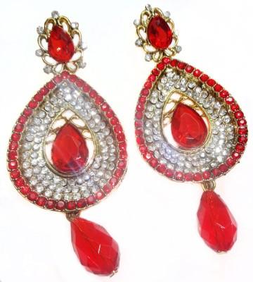 SB Fashions Red earrings Brass Chandbali Earring