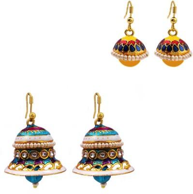 MK Jewellers Jingle bell-shaped and drop-shape earring Combo Brass, Copper Jhumki Earring