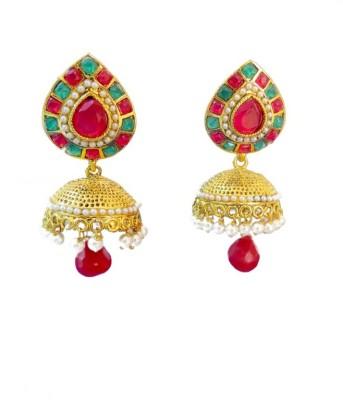 Ratnaraj India Modern Designe Red & Green Colorful Stone Pearl Copper Jhumki Earring