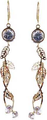 000 Fashions Golden Leaf Shape Crystal for Women Alloy Dangle Earring