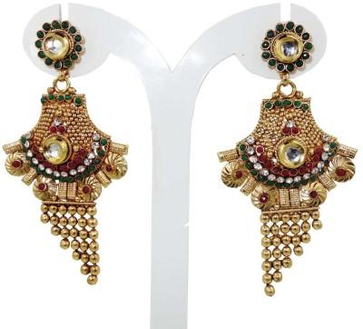 Anjan Delightful Traditional Golden Alloy Drop Earring
