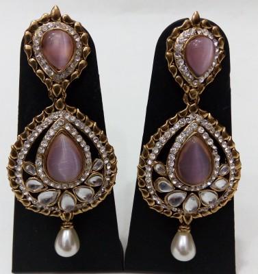 Womaniya pink dazzle Beads Alloy Drop Earring