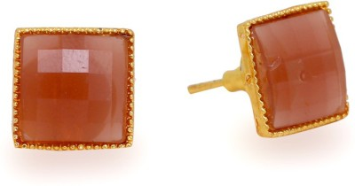 Jaipur Mart Square Shape Golden Color Small Stone Alloy Stud Earring