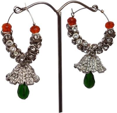 Mrinalini Green and Red Baali Alloy Hoop Earring