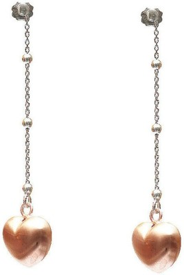 VelvetCase Puffed Heart Silver Dangler Earrings Silver Stud Earring