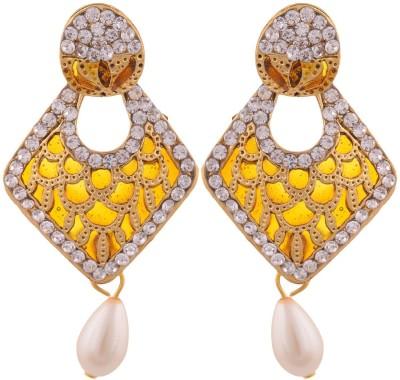 Grandiose Gold Plated Yellow Meenakari Copper Drop Earring
